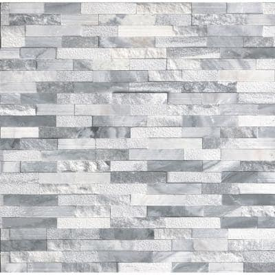 Alaska GrayMulti-Finish Ledger Panel 6 in. x 24 in. Textured Natural Marble Wall Tile (10 Cases/60 sq. ft./Pallet)