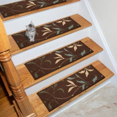 Ottohome Collection Chocolate 9 in. x 26 in. Rubber Back Stair Tread (Set of 7)