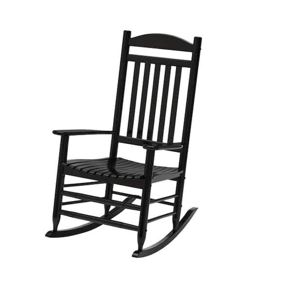 Hampton Bay Black Wood Outdoor Patio, Wood Rocking Chair Outdoor Black