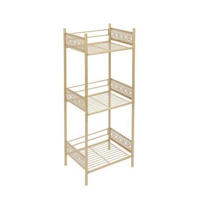 Filigree 14.50 in. W Bathroom Floor Shelf in Gold