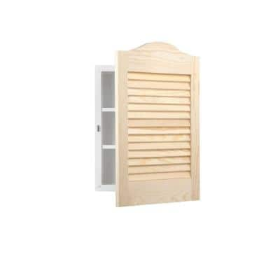 Louvered Arched 16 in. W x 24 in. H x 5-1/4 in. D Frameless Recessed Bathroom Cabinet with Unfinished Pine Door