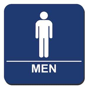 8 in. x 8 in. Blue Plastic with Men Symbol Sign