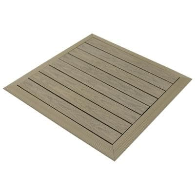 Luxury Home Products Roman Antique 28 in x 28 in Composite Wood Shower Bathroom Mat