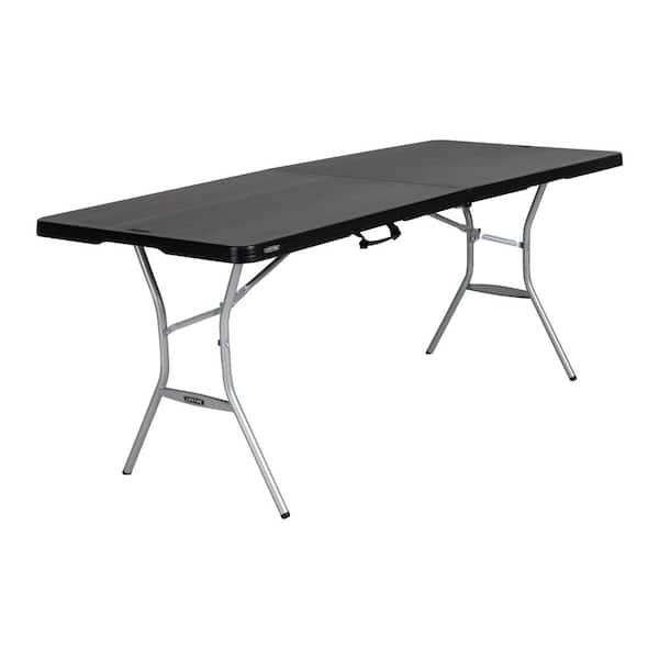 Lifetime 6 Ft Black Resin Fold In Half Folding Table 80867 The Home Depot