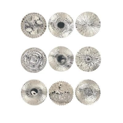 Modern Silver-Finished Stainless Steel Wall Platters (Set of 9)