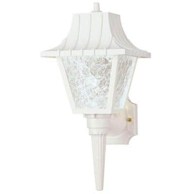 1-Light White Exterior Wall Coach Light Sconce with Removable Tail Hi-Impact Polycarbonate and Clear Textured Acrylic