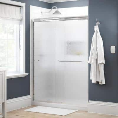 Simplicity 60 in. x 70 in. Semi-Frameless Traditional Sliding Shower Door in Chrome with Rain Glass
