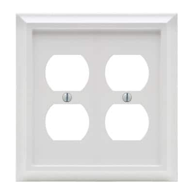 Deerfield 2 Gang Duplex Composite Wall Plate - White