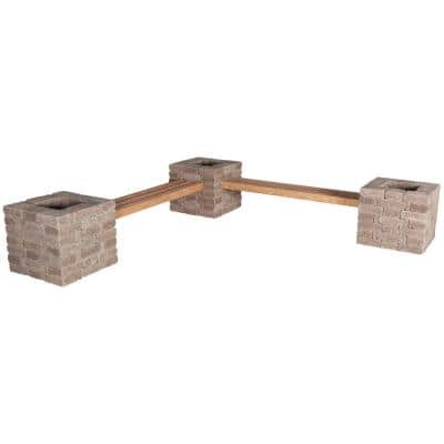 RumbleStone 114 in. x 24.5 in. x 17.5 in. Concrete Garden Bench/Planter Kit in Cafe