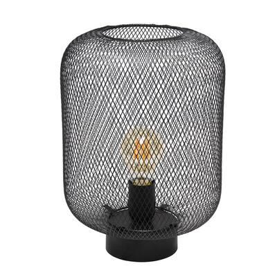12 in. Black Metal Mesh Industrial Table Lamp