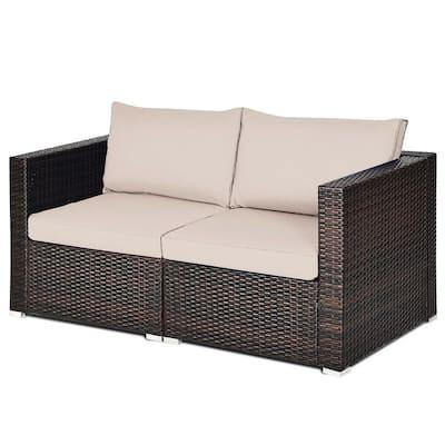 Brown PE Wicker Outdoor Loveseat with Beige Cushion
