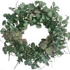 24 in. Green Unlit Seasonal Artificial Christmas Wreath with Eucalyptus