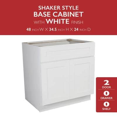 Brookings Plywood Assembled Shaker 48x34.5x24 in. 2-Door Sink Base Kitchen Cabinet in White