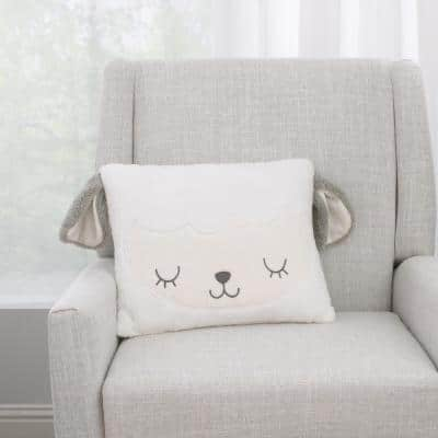 White and Grey Lamb Shaped Polyester Soft Sherpa 13 in. x 16 in. Decorative Throw Pillow with 3D Ears