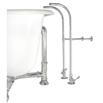 Rigid Freestanding Supply Line in Chrome with Metal Cross Handles