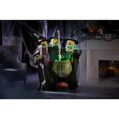 6 ft. Animated LED Wicked Cauldron Witches