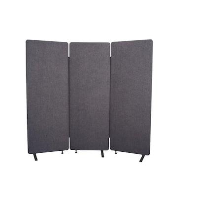 Reclaim 66 in. Slate Gray 3-Panel Room Divider