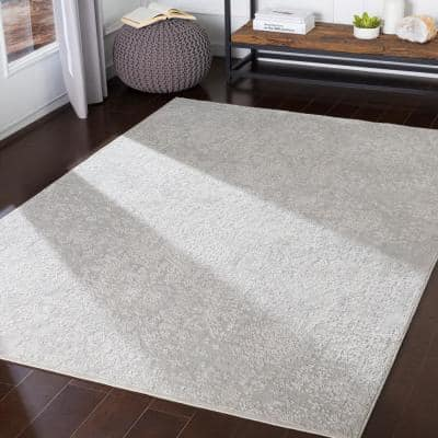 Marquis Grey 6 ft. 7 in. x 9 ft. 6 in. Medallion Area Rug