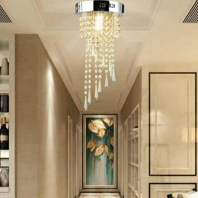 1-Light Crystal Chandelier with Stainless Steel Shade