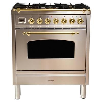 30 in. 3.0 cu. ft. Single Oven Dual Fuel Italian Range True Convection, 5 Burners, LP Gas, Brass Trim in Stainless Steel