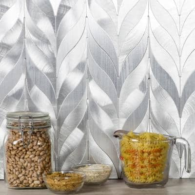 Enchanted Metals Silver Sprig Mosaic 1 in. x 8 in. Brushed Aluminum Metal Peel & Stick Wall Tile (1 Sheet)