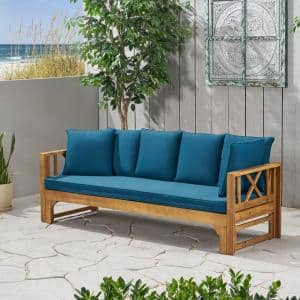 Long Beach Teak Brown 1-Piece Wood Outdoor Day Bed with Dark Teal Cushions