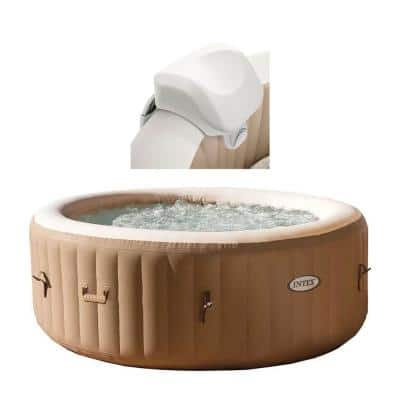 28403E Pure Spa 4-Person Inflatable Heated Hot Tub with Soft Foam Headrest