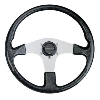 Corse B/S Steering Wheel - Black Grip with Silver Spokes