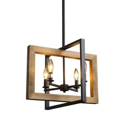 Modern 4-Light Black Farmhouse Pendant Island Light Fixtures Hanging Ceiling Light with Open Wood and Metal Frame