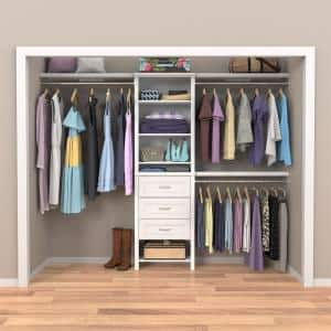 Impressions Basic Plus 60 in. W - 120 in. W White Wood Closet System