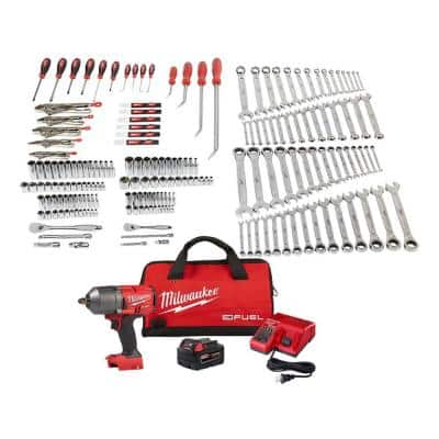 Mechanics Tool Set with M18 FUEL Cordless 1/2 in. Impact Wrench Kit with One 5.0 Ah Battery and Bag (191-Piece)