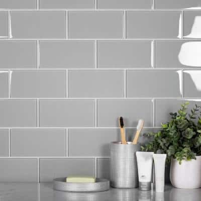 Aura Gray 3 in. x 6 in. Polished Glass Mosaic Tile (40-Pack) (5 sq. ft./Case)