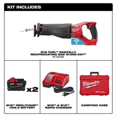 M18 FUEL ONE-KEY 18-Volt Lithium-Ion Brushless Cordless SAWZALL Reciprocating Saw Kit with Two 9.0Ah Batteries