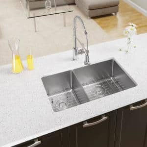 Rene Undermount Stainless Steel 31 In Double Bowl Kitchen Sink Kit R1 1022d 14 The Home Depot