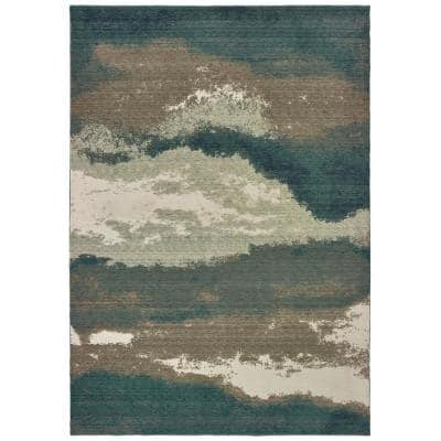 Matteo Blue/Ivory 6 ft. x 9 ft. Abstract Area Rug
