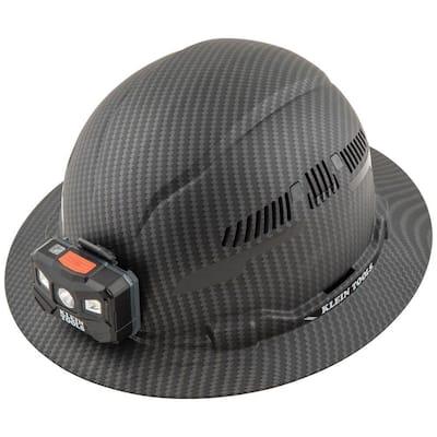 Vented Full Brim Premium KARBN Hard Hat Class C with Headlamp