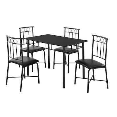 Black Metal and Top Dinning Set (5-Piece)