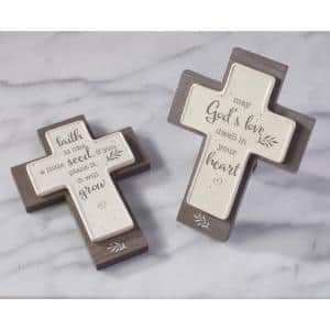 Black And White Ceramic And Wood Faith Is Like A Little Seed If You Plant It It Will Grow Cross