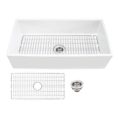 36 in. x 18 in. White Fireclay Single Bowl Apron Front Kitchen Sink with Drain Assembly