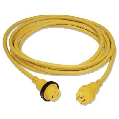 25 ft. 30 Amp/125-Volt Powercord Plus Shore Power Cordset with LED, Yellow