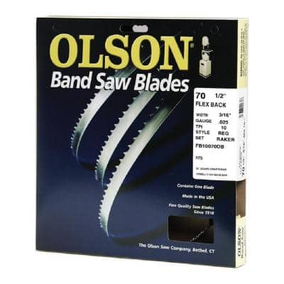 70-1/2 in. L x 3/16 in. with 10 TPI High Carbon Steel with Hardened Edges Band Saw Blade