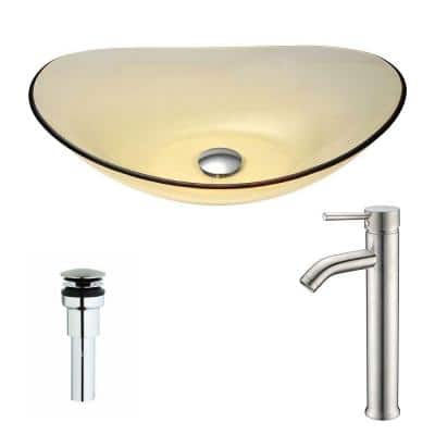 Mesto Series Deco-Glass Vessel Sink in Lustrous Translucent Gold with Fann Faucet in Polished Chrome