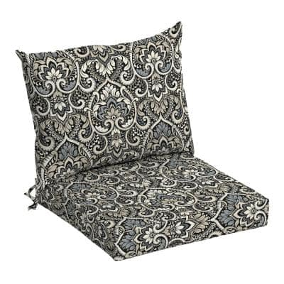 21 in. x 17 in. 2-Piece Deep Seating Outdoor Lounge Chair Cushion in Black Aurora Damask