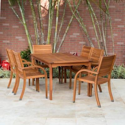 Arizona Eucalyptus Wood 7-Piece Rectangular Patio Dining Set