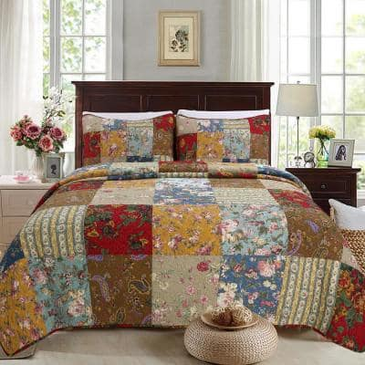 Country Garden Fall Flowers Paisley Brooch 3-Piece Multi-color Red Blue Beige Cotton Queen Quilt Bedding Set