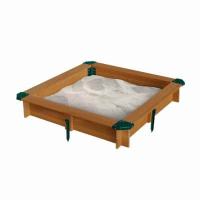 3-3/4 ft. x 3-3/4 ft. x 8 in. Square Interlocking Sandbox