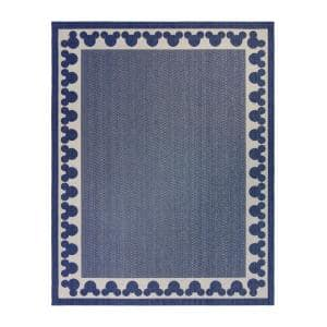 Mickey Mouse Navy/Sand 8 ft. x 10 ft. Border Indoor/Outdoor Area Rug
