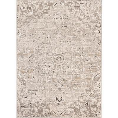 Tikal Thea Ivory/Grey Vintage Neutral Oriental Medallion 7 ft. 10 in. x 9 ft. 10 in. Distressed Area Rug