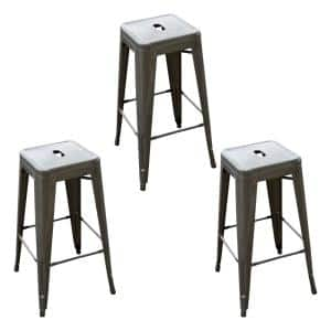 Loft Style 30 in. Gunmetal Grey Stackable Metal Bar Stool (Set of 3)