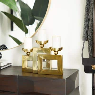 Gold Stainless Steel Modern Candle Holder